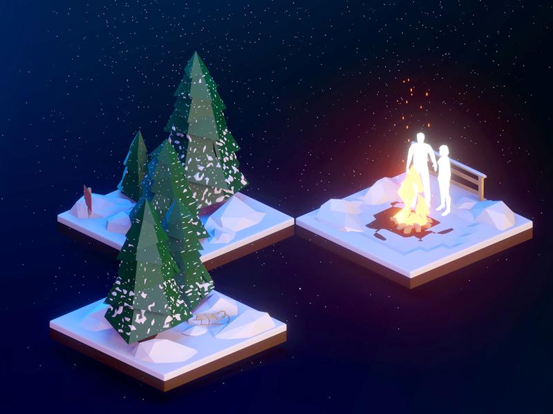 Christmas Scenery 3D Illustration night designer design graphicdesign graphic 3d art 3dart 3ddesign eskimo people winter snow fire dark illustration design illustration 3d