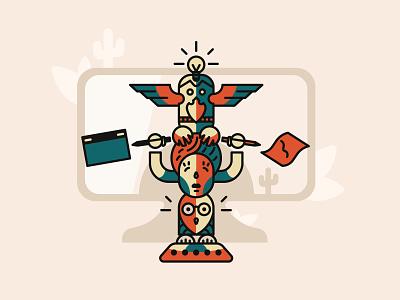 Designers' Totem Pole light bulb drawing board symbols tribe tradition totem pole totem artist art elements illustrator graphicdesign designer illustrations design illustration