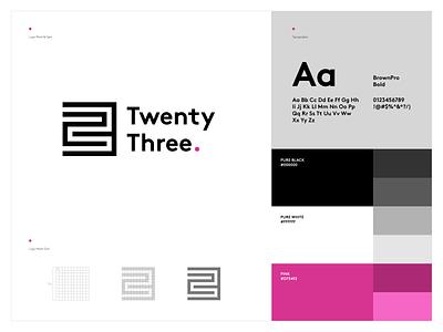 TwentyThree. logo designer logo design minimalistic clean design concept twentythree typography branding modern design logo