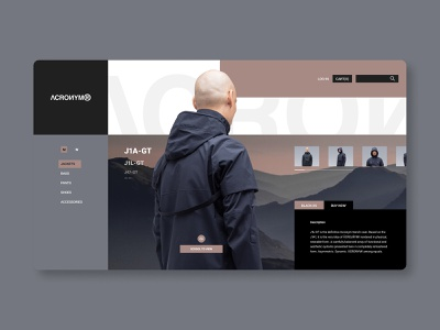 ACRONYM Homepage Concept streetfashion techware minimalistic website concept black and white brand fashion clothing apparel website homepage design