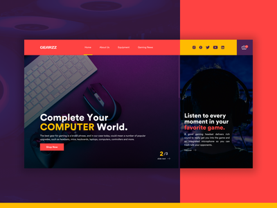 Gaming Gear - UI Design Concept yellow website web userinterface uiux uidesign ui artist ui geared purple mouse keyboard headset gear gaming website gaming game concept colorful cart