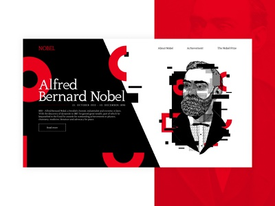 Alfred Nobel's 187 Birthday websitedesign userinterface ui modernism dynamite website websiteconcept biography nobelprize onthisday birthday alfrednobel