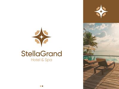 Hotel & Spa Logo Design Concept branding hotel branding concept unique modern golden luxury spa logo spa hotel logo hotel star logo design logodesign logo