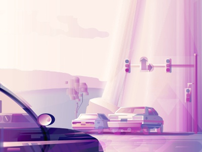 Summer Highway Memories highway memories summer illustrator trip road trip cars car drawing artist art abstract purple illustration graphicdesign graphic design