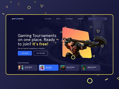 Gaming Streaming Platform - UI Concept webdesign website web gaming website platform streaming stream dark modern colorful tournament userinterface ui playful gamers gaming