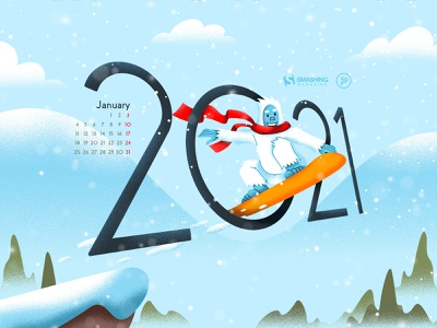 Ready For New Adventures smashing magazine digital art calendar design snowboard winter snow yeti 2021 vector illustration design