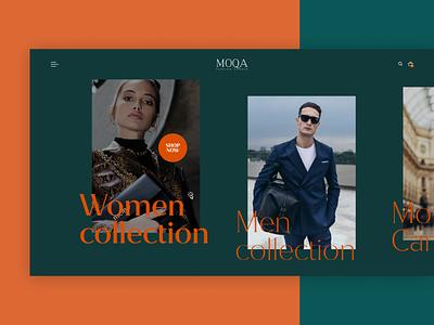 Moqa - Fashion Website Concept uiuxdseign webdesign bags suits clothing brand clothingwebsite clothing digital ecommercedesign fashionbrand brandwebsite green orange uidesign ui website fashionwebsite fashion