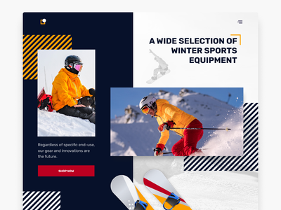Sports Equipment Website yellow red colorful designoftheday modernui modern clean wintersports winter snowboarding snowboard snowsport snow webdesign websites uidesign ui website equipment sports