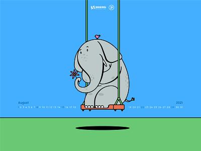 Ivory Tower - Calendar Design bird swing design vector illustration flat colors world elephant day flower elephant calendar smashing