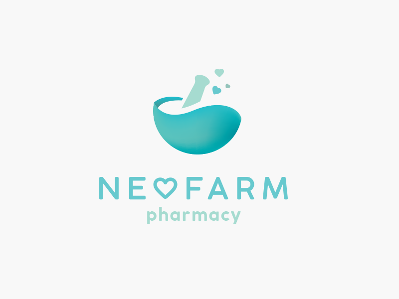 neofarm mortar and pestle pharmacy logo