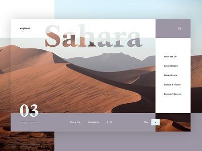Explorer Travel Website - Sahara Concept travel website sahara concept explorer exotic destinations travel blog web design