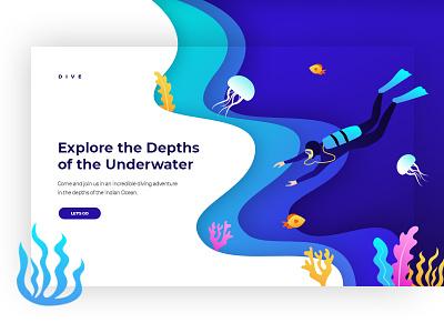The Depths of the Underwater web ui deep sea blue journey underwater modern gradients illustration adventure diving ocean