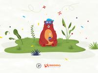 Sleepy bear illustration