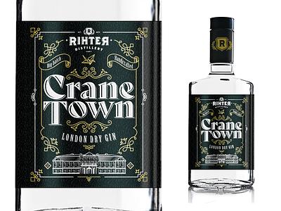 Rihter Distilery's CRANE TOWN Gin ornament logo croatia daruvar london vintage illustation drink gin rihter black town crane distillery packaging label design