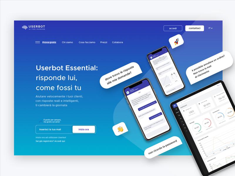 Userbot - SaaS Page Header saas website saas webdesign landing design clean ui web design web artificial intelligence