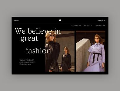 Fashion Website - Home Page Exploration black web minimal website clean fashion web design home typography ui ui design webdesign design concept