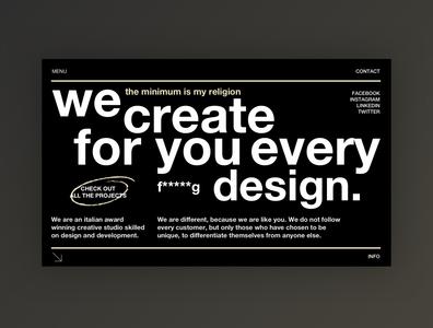 Creative Agency - Home Page Exploration portfolio typography black minimal concept website web design web ux ui homepage home design clean agency website agency