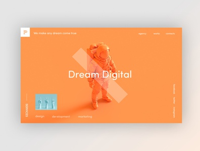 Creative Agency - Home Page Exploration agency website web orange clean design web design agency website home page home ux ui