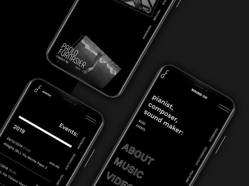 Paolo Fornasier - Website Portfolio minimalist design mobile design mobile ui black portfolio music typography webdesign web design clean minimal website web ux ui