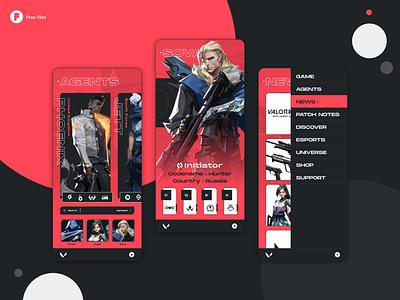 Valorant - Mobile concept design product application minimal uidesign riotgames ux uiux ui valorant mobile ui mobile design mobile app design mobile app mobile ios games figma esports app design app