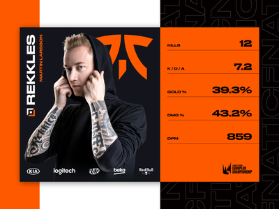 League Of Legends - LEC game stats for broadcast tournament esports tournament figma fnatic uxdesign broadcast web design web leagueoflegends ux uidesign ui typography riotgames minimal interface games esports digital design creative design