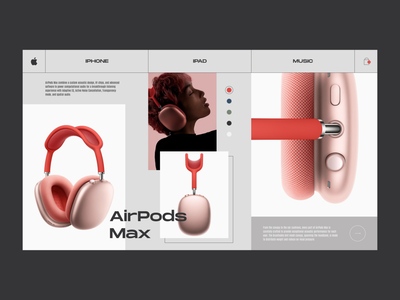 Apple AirPods Max - Product card concept design store shop product clean interaction interface figma uiux web design website website design webdesign design ecommerce minimal ui ux airpods apple web