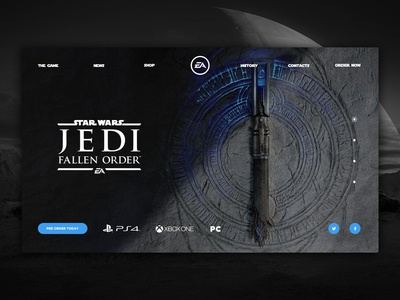 Star Wars Jedi : Fallen Order - Website concept design lightsaber starwars sith pc xboxone playstation playstation4 electronic arts games game jedi star wars web design website minimal promo concept ux ui uiux