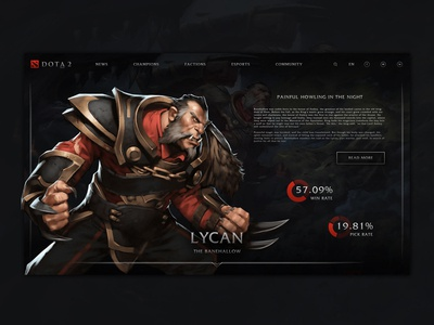 Dota 2 website concept design - Lycan hero page