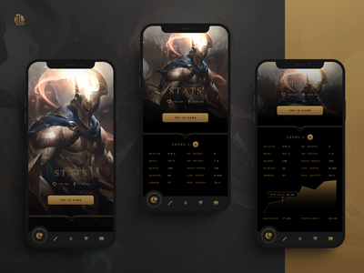 League of Legends - Champions app concept design figma esports ux uiux ui riotgames mobile moba lol league of legends leagueoflegends hero game esport dark design concept character champions app