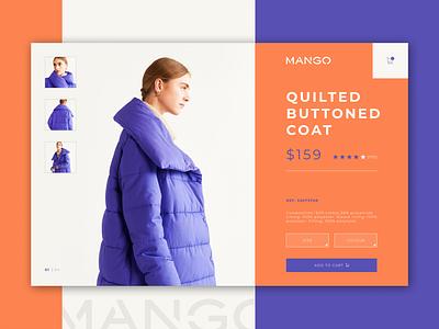 MANGO - Product card concept design online shopping card design minimalist coat web product card product page mango ux online shop fashion brand ui shop model minimal clean ecommerce digital design