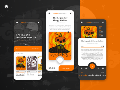 Creepy Bookshelf - Book app for Weekly Warm-Up figma mobile ui mobile design mobile app design ios design spooky mobile app pumpkin creepy uiux ux ui mobile app app design halloween warm up weekly warm-up dribbbleweeklywarmup