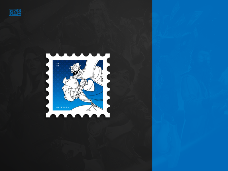 BlizzCon 2020 - Postage for Weekly Warm-Up typography graphic design branding minimal print design print warcraft stamp weekly vector art warm up weekly warm-up dribbbleweeklywarmup blizzcon blizzard vector illustration esports games design