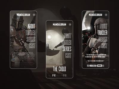 Star Wars : The Mandalorian - Mobile concept design yoda mobile app mobile ui mobile design ux uiux ui star wars starwars minimal mandalorian lucasfilm jedi inspiration episode disney design concept mobile