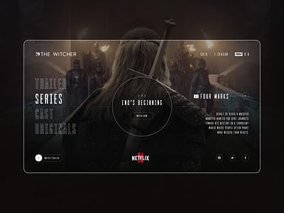 The Witcher - Website concept design figma film homepage minimal the witcher concept inspiration web uiux ux ui webdesign web design website website design trailer dark netflix series witcher