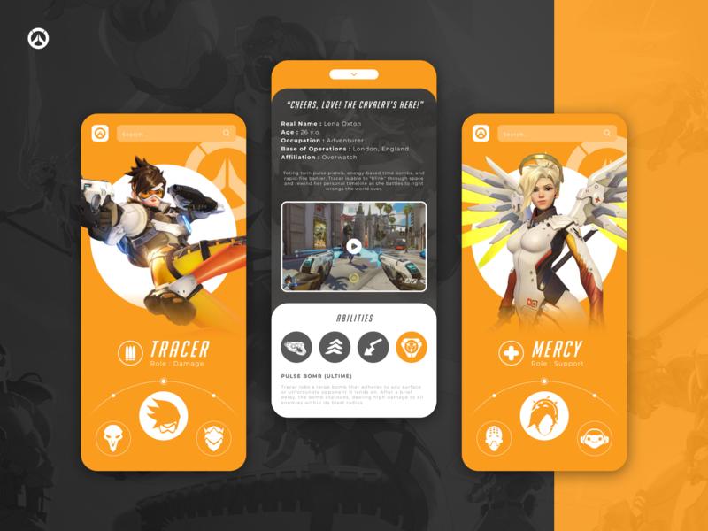 Overwatch - Heroes app concept design figma mobile ui mobile app design ios slider heroes overwatch games app design mobile design mobile app mobile app esport esports game uiux ux ui design