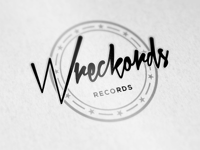 Record Label Logo music font handwritten graffiti circle 3d record label shiny design logo