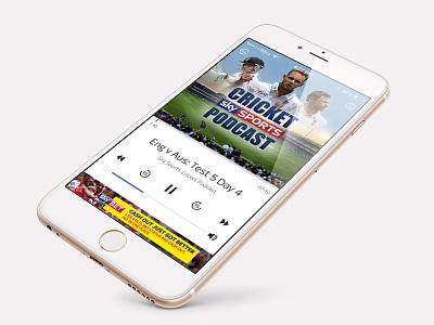 Sky Sports iOS Podcast UI app cricket iphone ui clean sports ios ios9 player podcast