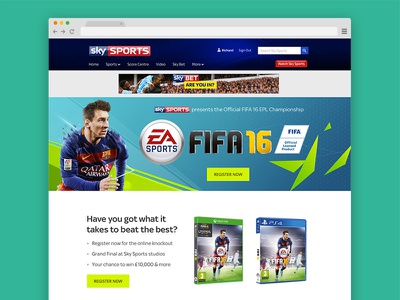 Fifa16 eSports Competition esports ux ui responsive fifa gaming football sports