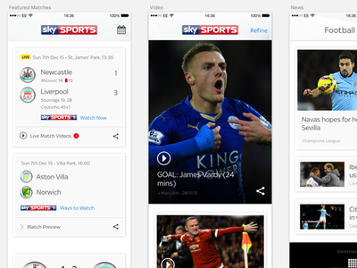 Sky Sports Goals App sketchapp sketch clean mobile ui sports app iphone ios