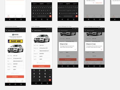 Car Valuation App mobile sketch ui ios android app automotive