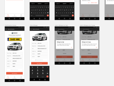 Car Valuation App mobile sketch ui ios android app automotive
