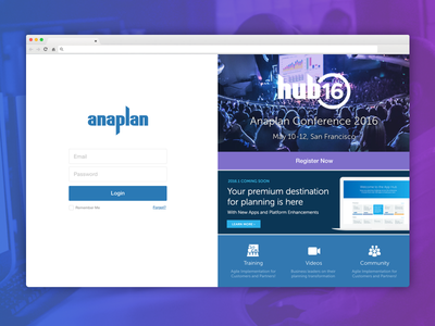 Anaplan Login ui tech startup sanfrancisco product marketing login fintech finance
