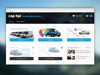 cap hpi B2B Portal ui ux design insurance car data b2b portal dashboard automotive