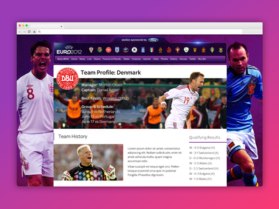 #TBT Euro 2012 responsive ux ui team euros euro sports football