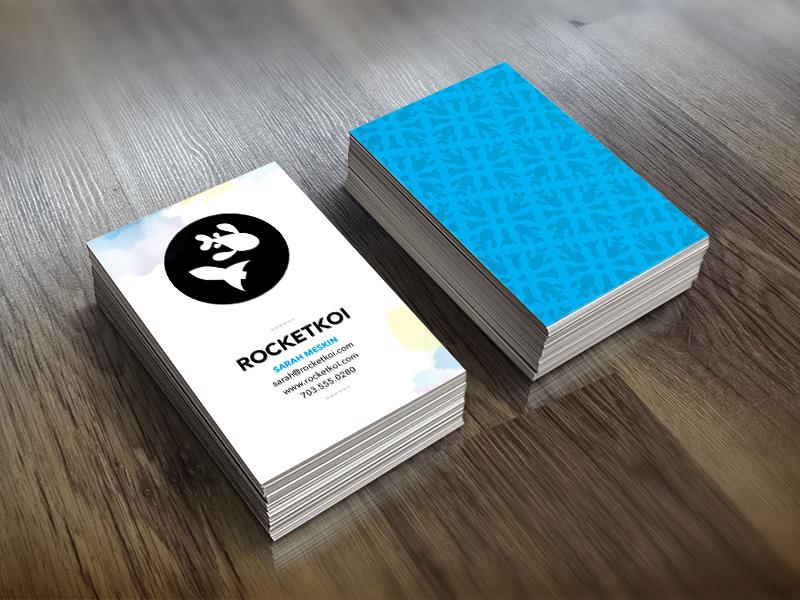 Rocketkoi Business Card watercolor pattern business card