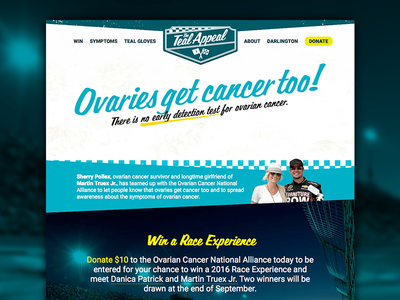 The Teal Appeal fundraising nascar teal teal appeal ovarian cancer landing page website