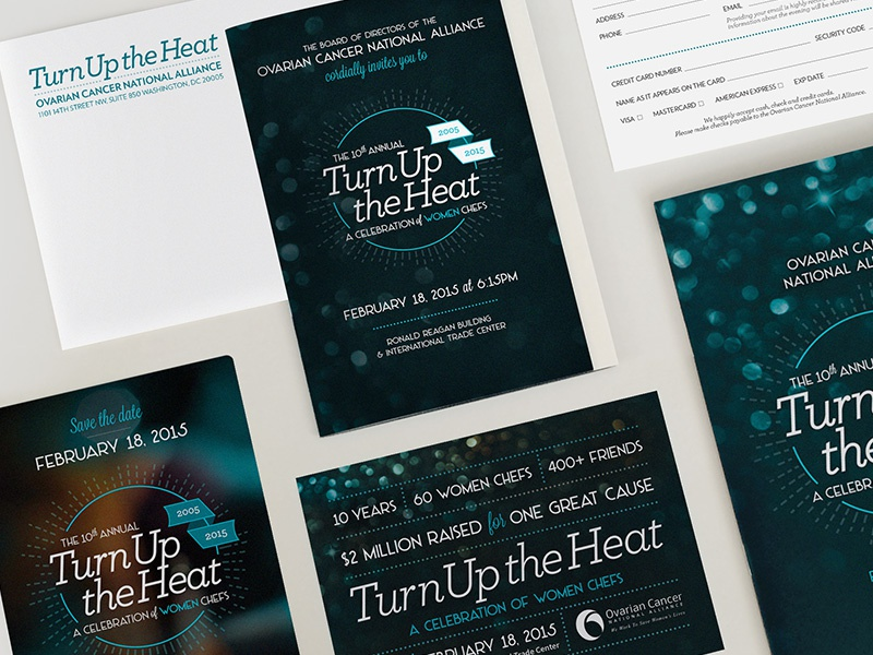Turn Up the Heat Gala Suite pearlescent paper postcard save the date reply card program invitation suite print invitation