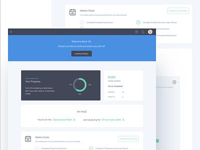 Dashboard Design progress agenda user interface user experience online education mooc dashboard