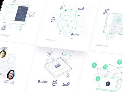 Homepage Illustration Set ui line minimal illustrations user interface illustration homepage