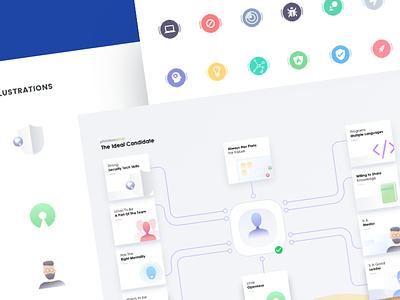 Illustration and UI Kit iconography information design recruiting recruiter minimal illustration powerpoint ui kit